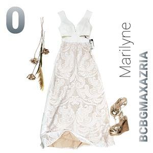 New BCBGMAXAZRIA Marilyne Off White Eyelet Gown 0